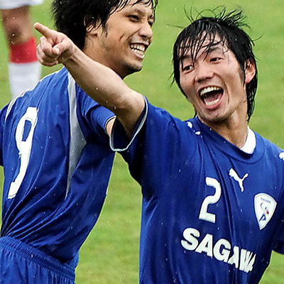 FUKUGAWA celebrates his goal for Sagawa - stefanole