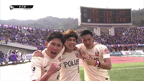 Ex-Sanfrecce players Moriwaki, Kashiwagi, and Makino. Image from https://twitter.com/kokokochan/status/307733845468405760/photo/1